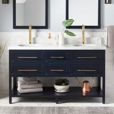 Navy vanity gold hardware marble vanity gold sconces countertop styling home decor for Midnight blue bathroom vanity