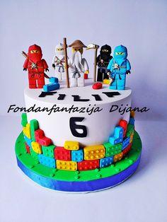 Lego Ninjago themed cake by Fondantfantasy Ninja Birthday Cake, Ninja Cake, Lego Birthday Party, 5th Birthday, Easy Lego Cake, Easy Minecraft Cake, Lego Ninjago Cake, Ninjago Party, Superhero Cake