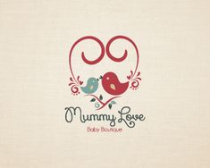 Mummy Love cute birds Logo design - This cute logo is ideal for daycare, baby boutique, baby consignment, child's clothing line, babysitter club, baby blanket, pregnancy blog, scrapbook pages, baby fashion, medical care, healthy nutrition, baby retail, moms blog, parenting blog, child store, nanny services, kids store, kids' hobby, baby development, development hobbies for kids, baby equipment, nursery, health care, parenthood counseling, products related to babies, sports equipments for…