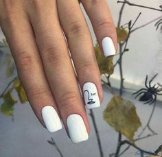 "If you're unfamiliar with nail trends and you hear the words ""coffin nails,"" what comes to mind? It's not nails with coffins drawn on them. Although, that would be a cute look for Halloween. It's long nails with a square tip, and the look has. Minimalist Nails, White Nail Art, White Nails, Blue Nail, Striped Nails, Nail Art Diy, Diy Nails, Nail Art Ideas, Simple Nail Art Designs"