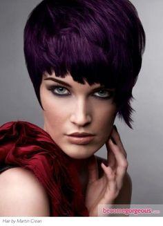 Hair color dark pixie cuts ideas for 2019 Deep Purple Hair, Plum Hair, Hair Color Dark, Cool Hair Color, Dark Hair, Dark Purple, Hair Colour, Purple Pixie, Burgundy Hair