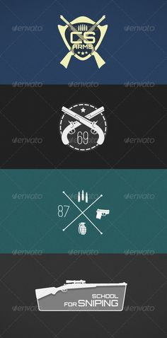 Weapon Badges  #GraphicRiver         Four different firearms badges in EPS and AI formats. Links to fonts used are in the documentation file.     Created: 4October13 GraphicsFilesIncluded: VectorEPS #AIIllustrator Layered: Yes MinimumAdobeCSVersion: CS Tags: bullets #firearmsbadge #grenade #lawenforcement #logo #pistolbadges #retro #rifle #sheriffbadge #shotgun #sniper #vintagepistol #weapon #weaponstamps