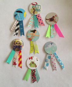 Kleine ornamentjes gemaakt van tijdschriften en washi tape voor de lintjes leuk als mini handgemaakte kadootjes bij snail mail
