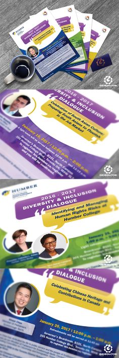 """Humber College required flyers to promote guest speaker events on the topic of diversity and equality, hosted by The Centre for Human Rights Equity & Diversity HR Services. We envisioned and designed a bright, colourful campaign to convey diversity, reinforcing the message with overlapping shapes to illustrate intersectionality. Each flyer was designed at 8.5""""x11"""" and printed on 100lb gloss to enhance the vibrant graphics.  #GeneratorDesign #humbercollege"""