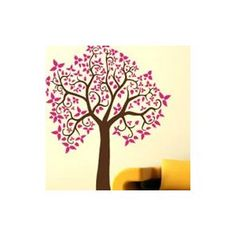 Curly tree adhesive wall sticker... Would want in a different color and possibly different style tree but I want one this big (or I need to paint it)