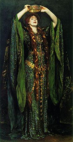 Dress used in Lady MacBeth then painted by ? Handcrochet with iridescent beetle wings.  Was restored at a cost of $100,000.00 and is considered the premere costume of all time