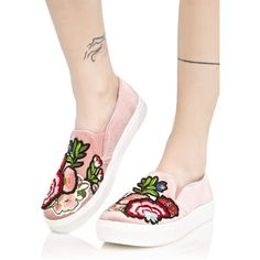 Jiana Velvet Sneakers ($70) ❤ liked on Polyvore featuring shoes, sneakers, pink shoes, floral-print shoes, dirty laundry shoes, white sole shoes and flower print sneakers