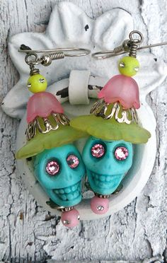 Turuoise Yello Pink Sugar Skull Day Of The Dead Earrings, Dia De Los Muertos   by Secret Stash Boutique, $9.00