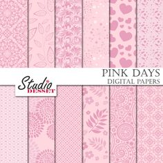 Pink Digital Papers Wedding Backgrounds Spring от StudioDesset