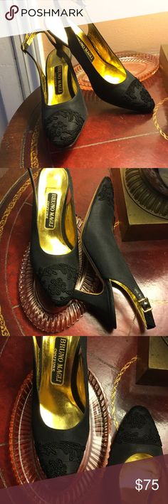 Bruno Magli Couture 5.5 B Black, leather sole silk Excellent condition! Beautiful Italian designer slingback shoes. Bruno Magli Couture, Vintage, silk matte fabric with lovely floral design in black. 5 1/5 B. Almost no wear on soles. Gorgeous. Bruno Magli Shoes Heels