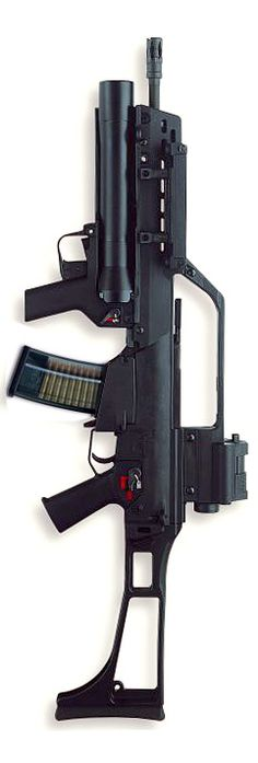 HK G36 assault rifle (standard German army version with dual sight system) with 40mm AG36 grenade launcher.