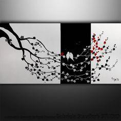 "CUSTOM PAINTING Original Modern Birds Asian Blossom Tree Original Painting Art by Gabriela 48""x24"" black white red on Etsy, $199.00"