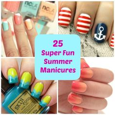 25 Super Fun Summer Manicures. I'm loving this especially the watermelon. I might actually be able to pull that one off on my own!