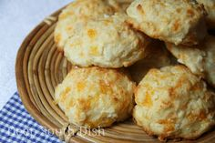 Garlic Cheese Drop Biscuits - An easy baking mix biscuit based on the Red Lobster Cheddar Bay biscuit copycats, made with sharp cheddar cheese and melted butter, infused with fresh garlic.