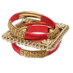 """Sonali Bangle SetPB 113List Price: $100.00  Price: $40.   3 piece two-tone bangle set  Material: Gold-tone brass, Silk  Earing Closure:   Necklace Closure:   Measurements: Stacked 1.75"""""""