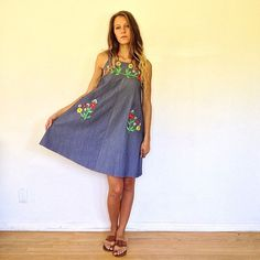 Marfa Dress // vintage 70s floral embroidered blue by FenixVintage, $48.00