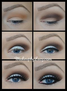 Shimmery glittery makeup for blue eyes with smoky crease - evening
