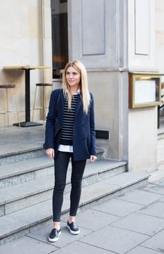Spring style idea via Make Life Easier. Navy jacket, striped sweater, black jeans, and black sneakers.