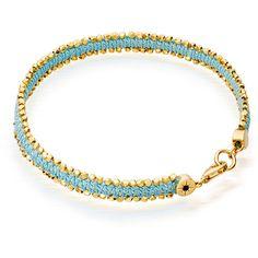Astley Clarke Pale Blue Eyes Nugget Bracelet (1.010 BRL) ❤ liked on Polyvore featuring jewelry, bracelets, accessories, light blue, beaded jewelry, astley clarke, braided friendship bracelet, 18k jewelry and 18k bangle