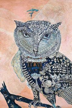Joshua Yeldham--Owl - One Tree Creek Oil, Ink and Acrylic on x 122 cm Illustrations, Illustration Art, Collage, Bird Artwork, Wise Owl, Owl Art, Looks Cool, Art Sketchbook, Beautiful Creatures