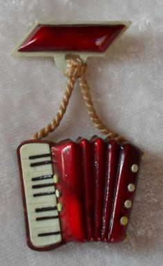 1930's Vintage Figural Squeeze Box Concertina Accordian Celluloid Pin from Italy