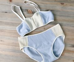 Cashmere lingerie set, light blue cream wool underwear, holiday gift idea, wool bra and and panties