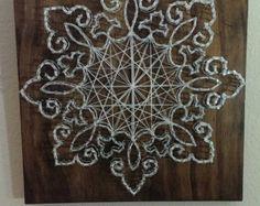 4 panel Octopus Nail and String Art Original by brokenwingArts