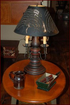 Prim Lamp with Punched Tin Shade.
