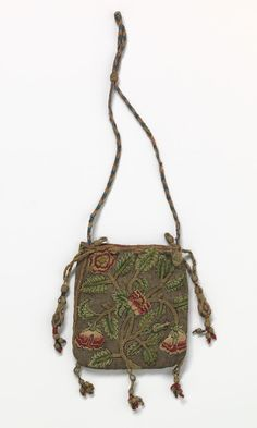 Purse, (early 17th century) (ENGLAND) linen, silk (thread, lining), gilt-metal (thread), seed pearls