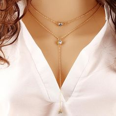 Double Link IF ME Alloy Gold Chain Necklace
