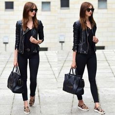 black leather jacket with slip on-Casual outfits ideas with slip on shoes http://www.justtrendygirls.com/casual-outfits-ideas-with-slip-on-shoes/