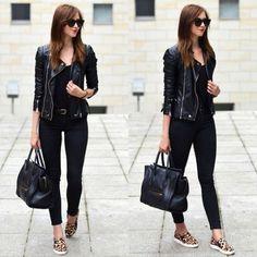 black leather jacket with slip on