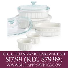10 Piece Corningware Bakeware Set $17.99 (Reg $79.99)  Click on the link below to find out more about this deals.  Check out http://www.bighappysavings.com to find more money saving deals  #BigHappySavings, #BlackFridayDeals, #CouponCommunity, #HotDeals, #OnlineDeals
