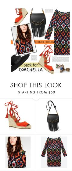 """Pack for Coachella:  mini crochet dress"" by agnesfrs ❤ liked on Polyvore featuring H&M, Joie, MANGO, Anja, fringe, boho, coachella, festivallook and packforcoachella"