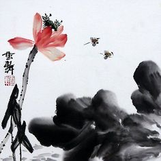 Chinese Painting Bee Lotus Birds Flowers 16x16 Waterlily Insects ...