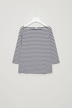 COS image 2 of Striped jersey top in Dark Navy