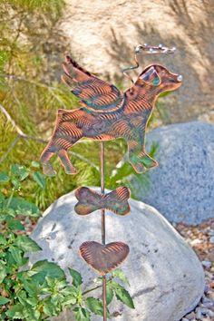 Dog Garden Stake Metal Garden Art Copper Art Rescue