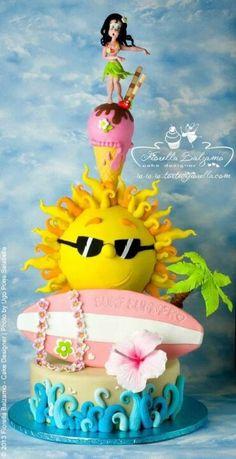 Cake Inspiration - 3 Tier, Surfing, Surf, Beach