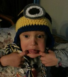 Check out this item in my Etsy shop https://www.etsy.com/listing/206455501/minion-hat-hand-crocheted