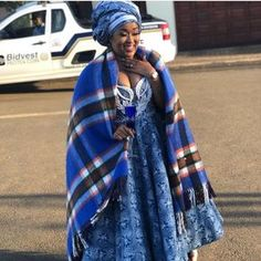 Image may contain: 1 person standing and outdoor South African Wedding Dress, African Wedding Attire, African Prom Dresses, Latest African Fashion Dresses, African Dresses For Women, African Print Fashion, African Attire, African Wear, Sesotho Traditional Dresses