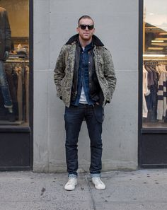 Camo jacket, leather jacket & denim shirt layers - Ben Ferrari's GQ Street Style Photos #swag