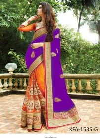 Buy Orange & Purple Silk Georgette With Nylon Net Heavy Designer Saree..