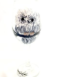 Hand Painted Owl Wine Glass in Choice of Size  https://handpainted-glasses.com/shop/blackwhiteowl