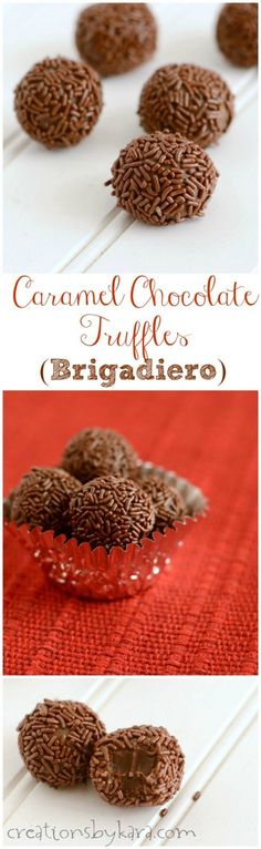 These 4 ingredient Caramel Chocolate Truffles are a traditional Brazilian candy called Brigadeiro. They are easy to make but hard to stop eating! Chocolate Caramels, Chocolate Truffles, Chocolate Recipes, Homemade Chocolate, Nutella Fudge, Candy Recipes, Sweet Recipes, Fudge Recipes, Yummy Treats