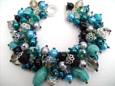Beaded Bracelet with Teal Beads Chunky Bracelet Perfection