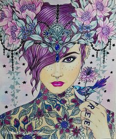Tattooed lady from Hanna Karlzon summer nights coloured by Debbie Harby  #hannakarlzon #sommernatt #summernights #coloringbook #adultcoloring #coloringforadults #prismacolor