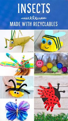 Gorgeous recycled insect crafts for kids. Great for Spring, Summer and Earth Day. Bee Crafts For Kids, Crafts For 3 Year Olds, Spring Crafts For Kids, Toddler Crafts, Preschool Crafts, Art For Kids, Arts And Crafts, Fall Crafts, Preschool Ideas