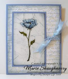 Stampin' Up! handmade card from Stamping Inspiration: Cracked Glass Technique ... fragile aged look in blues and white ... lovely!