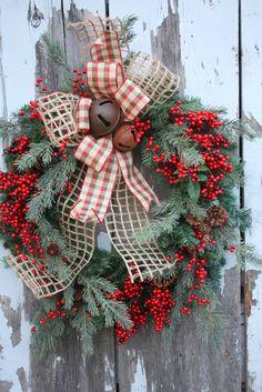 Christmas Wreath, Red Berries, Mixed Pine, Plaid Bow, Jingle Bells via Etsy.