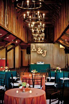 We Love The Vintage Monogram Lights! | Carriage House at Magnolia Plantation | Engaging Events Charleston Wedding Planner